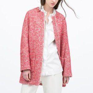 Zara Boucle Collarless Wool Blend Coat, Raspberry Red XS
